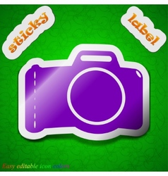 Photo camera icon sign Symbol chic colored sticky vector image