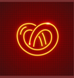 Pretzel neon icon sweet fancy vector
