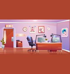 radio station studio interior empty room design vector image