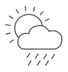 rain thin line icon day and sky weather sign vector image