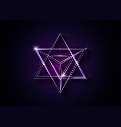 Sacred geometry 3d neon merkaba thin line geometry vector