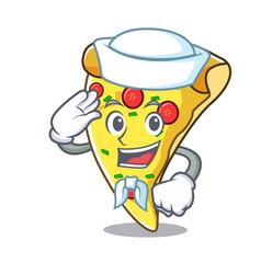 Sailor pizza slice character cartoon vector