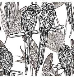 seamless monochrome pattern with parrots vector image