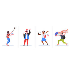 set mix race people with usa flags having fun 4th vector image