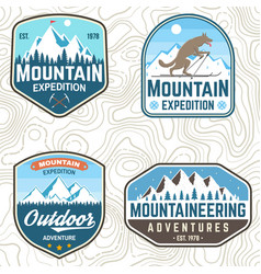 set mountain expedition patches vector image