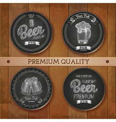 Set of chalk drawing labels with beer vector image