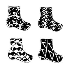 Set of Christmas sock icon in zentagle vector