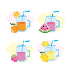 set tropical juice and lemonade with fruits vector image