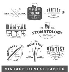 set vintage dentist labels vector image