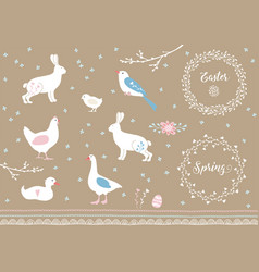 Set white hand drawn easter and spring elements vector
