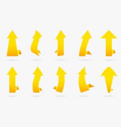 set yellow popular arrow sticker isolated origami vector image