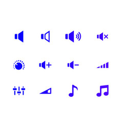 Sound icons set audio signs buttons vector