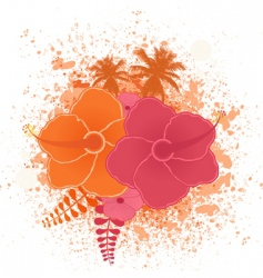tropical flower grunge vector image vector image