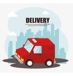 Truck delivery urban landscape background vector