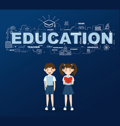 two students with education infographic design vector image