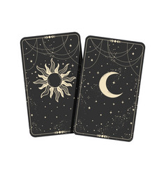 Two tarot cards with moon and stars boho vector