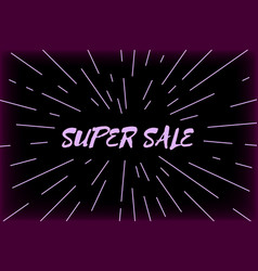 Typography super sale design and sunburst vector