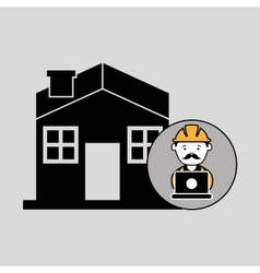 Under construction laptop worker house vector