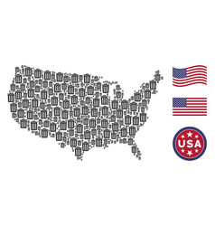 United states map collage of trash bin vector