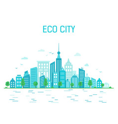 Urban landscape poster with an ecological green vector