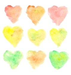 Watercolor heart shaped stains vector image