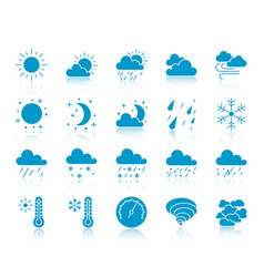 weather color silhouette icons set vector image