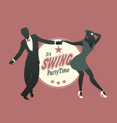young couple silhouette dancing swing lindy hop vector image