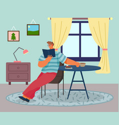 young man sitting on chair and reading a book vector image