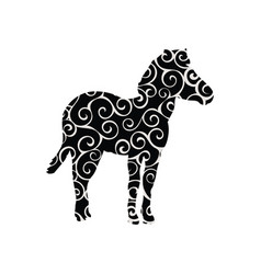 Zebra mammal color silhouette animal vector