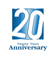 20 years anniversary blue square frame background vector image vector image
