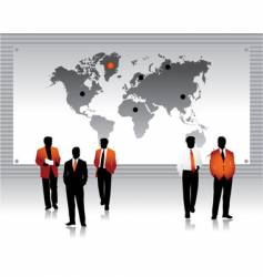 business peoples silhouettes world map vector image vector image