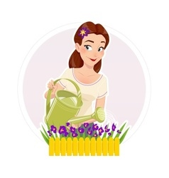 Gardening beautiful girl vector image vector image