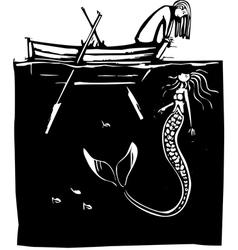 Girl and Mermaid vector image