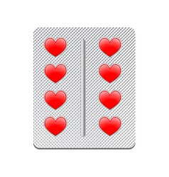 packaging of heart tablets vector image vector image