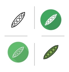 Pea pod flat design linear and color icons set vector image