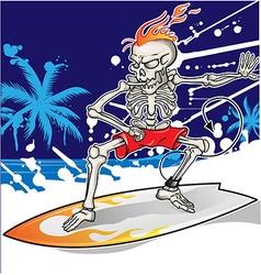 skeleton surfer on summer sea background vector image
