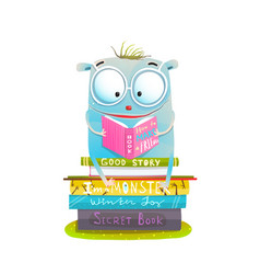 character sitting on stack of books reading vector image