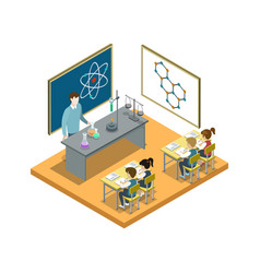 chemistry lesson at school isometric icon vector image