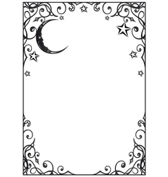 Frame moon and stars vector image
