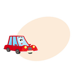 funny red car character with human face surprised vector image vector image