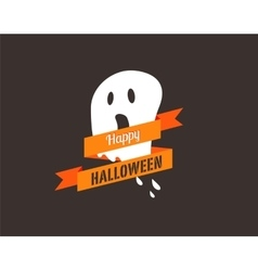 Halloween greeting card banner with ghost vector image vector image