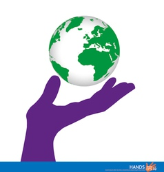 Hand holding a green earth vector image vector image