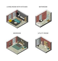 interiors set in isometric views vector image