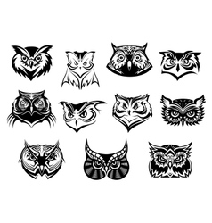Large set of black and white owl heads vector image vector image