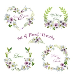 Lily and Anemone Flowers Floral Wreaths vector image