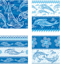 set of seamless pattern with dolphins vector image vector image