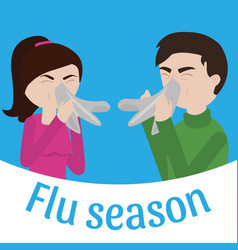 young sick man and woman ill vector image
