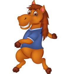 cute horse cartoon dancing with smiling vector image