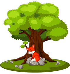 fox sitting on the stone vector image vector image