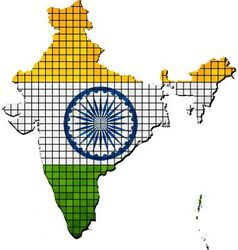 India map with flag inside vector image vector image